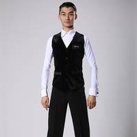 Ballroom Latin Dance Shirts Men Black Front Velvet Back Nylon Vest Coat Male Flamengo Competition Performance Dancewear DNV11343