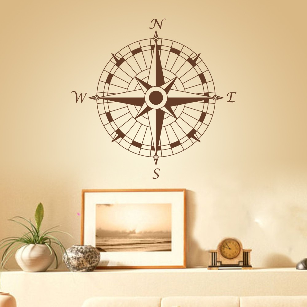 Nautical Compass Removable Wall Decal Vinyl Wall Sticker Art Graphic ...