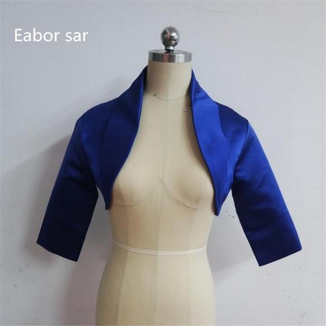 Elegante Azul Royal Mulheres Jaqueta De Cetim Nupcial 2017 nova queda três Quater mangas Exclusivo Nupcial Jacket/Bolero/ombros col