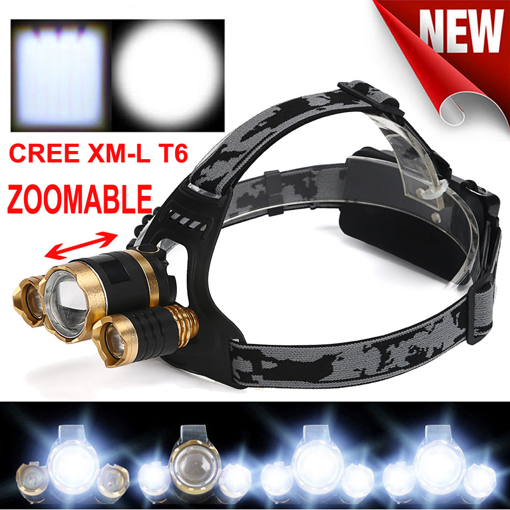 15000 Lumens CREE LED Headlamp Torch Cree 3x XM-L T6 Headlamp Head Light Lamp