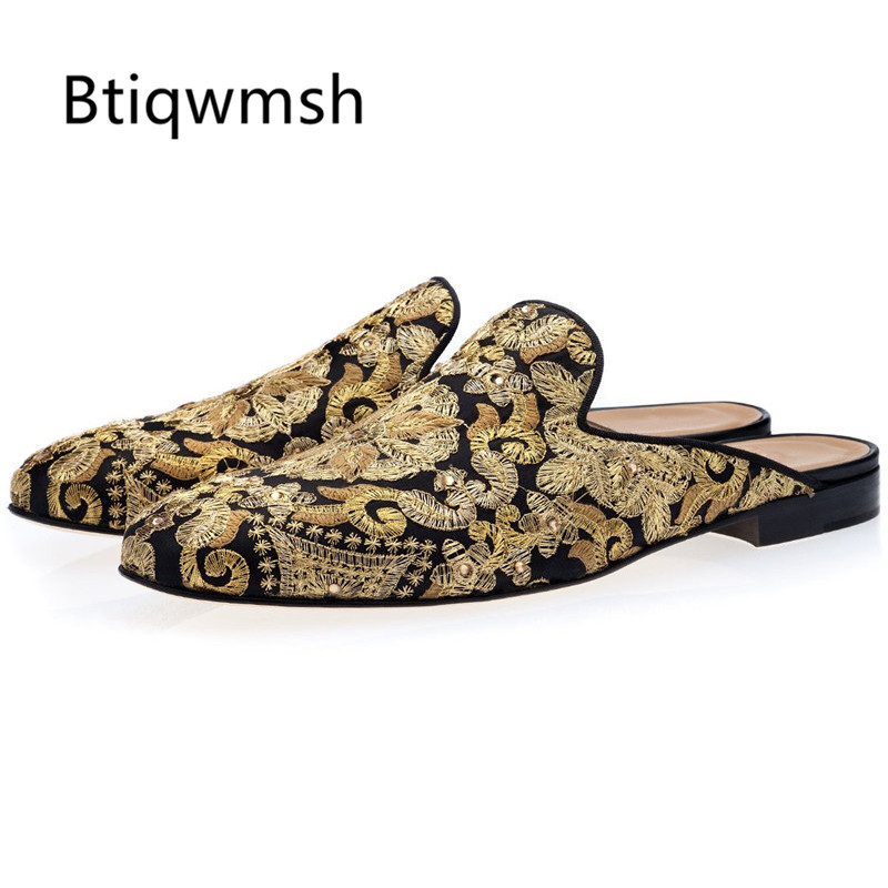2019 zapatillas bordadas hechas a mano hombres zapatos planos de punta redonda para hombre sandalias-in Zapatos formales from zapatos    1