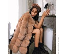 Perfect Beautfiul Winter Natural fox Fur outerwear Luxury sqauare bubble Fur coats manteau femme