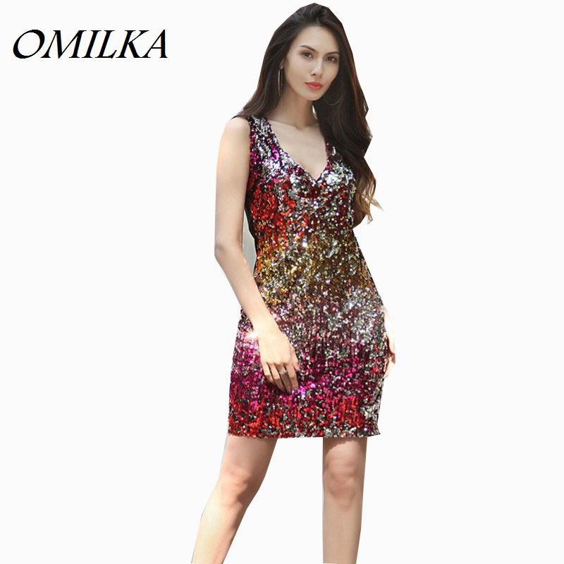 Buy Cheap OMILKA Sequin Dress 2017 Women Sleeveless V Neck Bodycon Dress Sexy Gradient Color Plus Size Shiny Club Party Vestidos Mujer