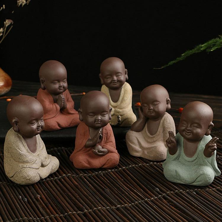 Image 3 - Buddha Statues Small Monk Color Sand Ceramic Home Club Geomantic Decoration Purple  Figurine Tea PetStatues & Sculptures   -