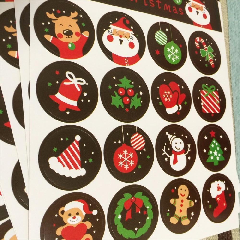 160pcs diy scrapbooking merry christmas gift sticker cookie cake