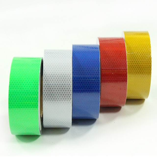 5cm50m Reflective Tape Safety Warning Conspicuity Film Adhesive 2 Width Red White Yellow Blue Green