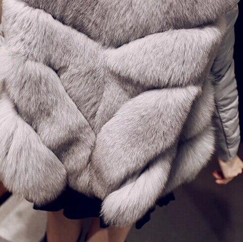 Manteau Tops La Rouge D'hiver brown À De Veste Faux Fourrure blanc Taille Femmes Longues Luxe Manches Arrivée Plus Patchwork Nouvelle Mode gris FzxCgx
