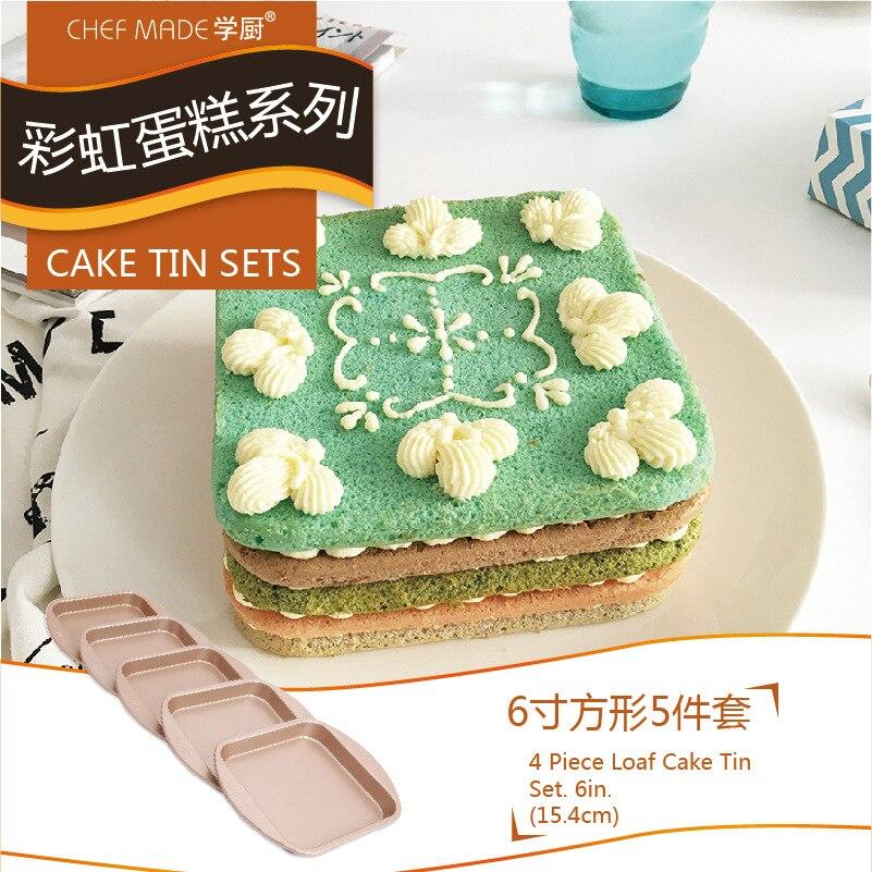 Casseroles à gâteau faites par Chef or plat De cuisson carré antiadhésif d'arc-en-ciel Produtos De Confeitaria Moule A Gateau Rond ustensiles De cuisson en métal 5 pièces