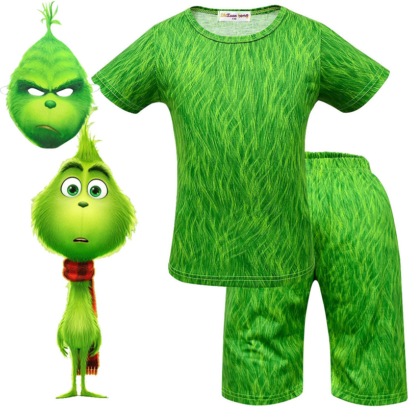 The Green Cosplay Costumes Boys Carnaval Fancy Party Dress Up Costumes For Kids Green Short Sleeve Short Pants Mask Suit Boy Top