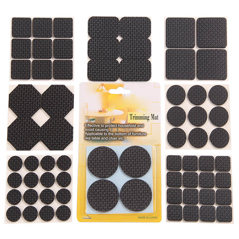 1 Set Multifunction Black Self Adhesive Furniture Leg Table Chair Sofa Feet Floor Non-slip Mat Sticky Pad Protector TB Sale
