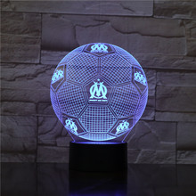 DROIT AU BUT Night Light 3D Illusion Table Lamp Nightlight 7 Color Changing Luminaria Touch Lights Football Trophy Gifts