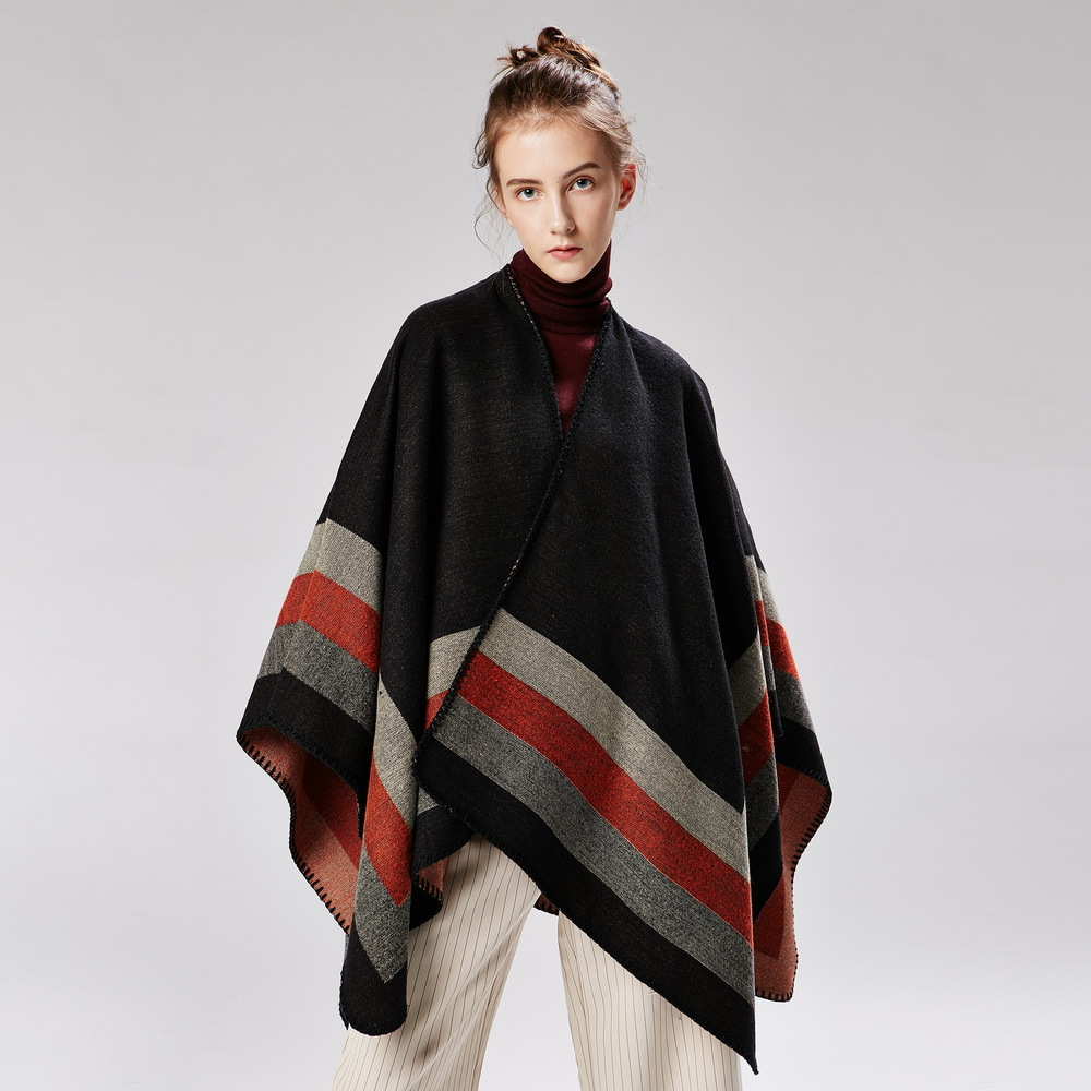 US $16 69 46% OFF|Tops Women Plaid Autumn Winter Sweaters Knitted Shawl  Wrap Swing Female Loose Cardigans Sweaters Oversized Cape Poncho Fashion-in