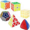 6 Pcs Original ShengShou Magic Cube (Include Skewb, Megaminx, Pyraminx, Mirror SQ1 Stress Reliever Fidget Cube Toys
