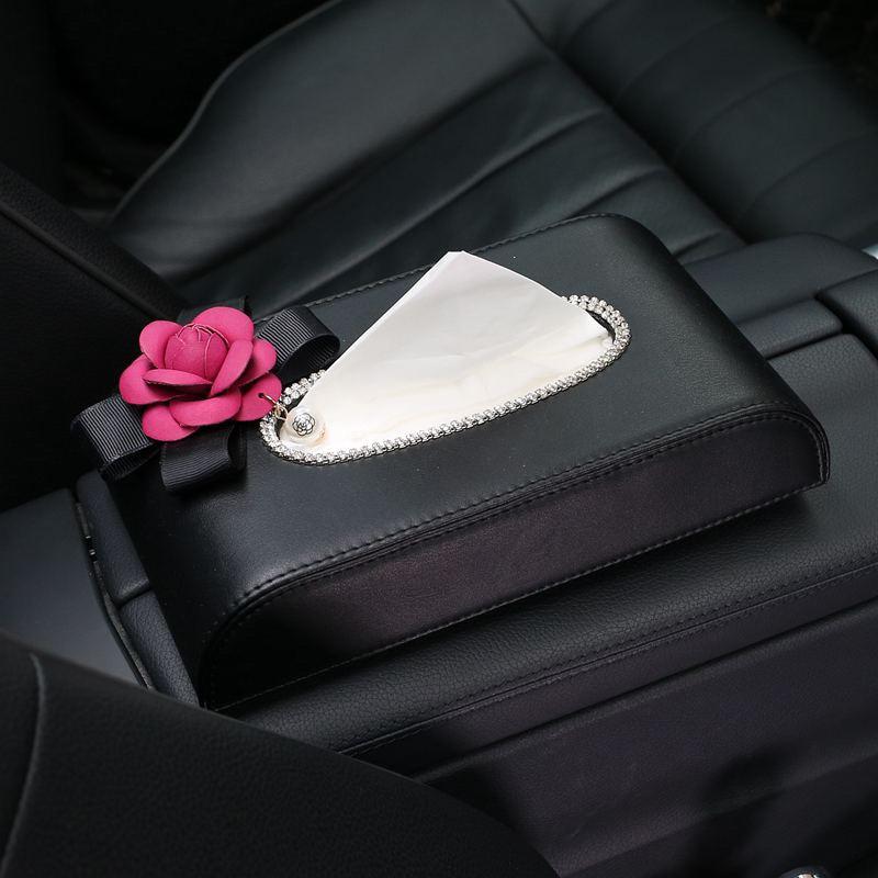 Linda flor de cristal caja del tejido del coche visera de cuero Auto - Accesorios de interior de coche - foto 4