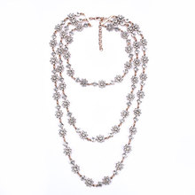 цена на New Multi-layer Pearl Long Flower Shape Crystal Rhinestone Female Clavicle Chain Necklace Vintage Boutique Necklace