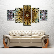 Colorful Glass Painting Oil Print on Canvas Jesus Wall Art Modern Home Decorations Easter Day Abstract Wholesale