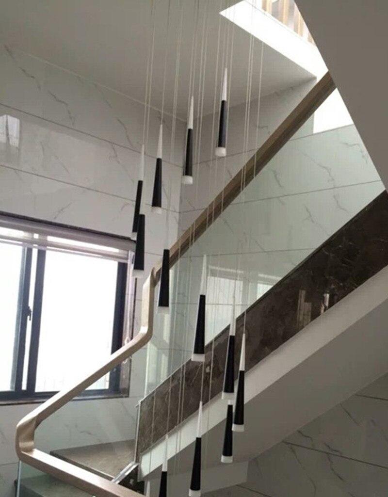 hotel led luminaria de aluminio luces pendientes modernas cono colgante luz de la escalera led hotel long negro espiral escalera