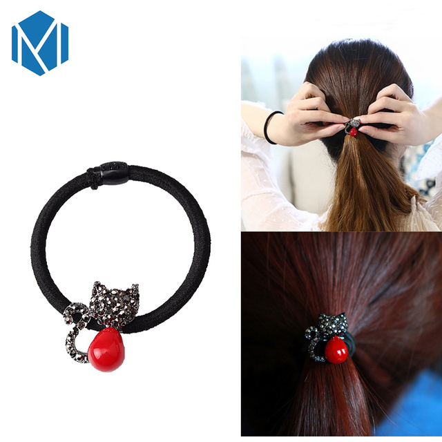 M MISM Stylish Girls Cartoon Elastic Hair Band Cat Ponytail Holder Gum  Women Hair Rope Rubber cca6038816e8