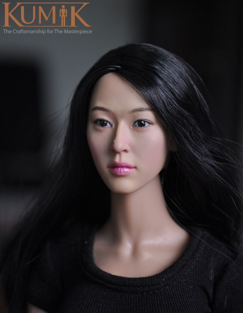 1/6  Headplay Figure Head Model Female CG CY KM13-78 Head Sculpt Black Hair 12 Action Figure Collection Doll Toys Gift 1 6 popular km 38 female head sculpt model with black hair for 12 female action figure body doll toys