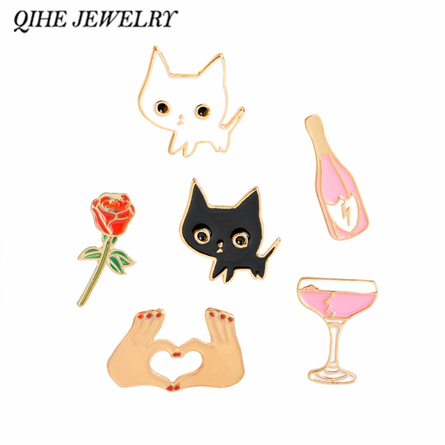 QIHE JEWELRY Champagne Coupe Saucer Rose Flower Heart Shape White Cat Black Cat