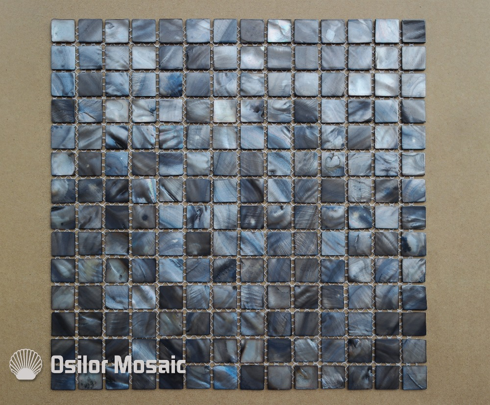Dyed gray and blue color natural Chinese freshwater shell mother of pearl mosaic tile for home decoration wall tile brick pattern 100% blacklip sea shell natural black color mother of pearl mosaic tile for interior house decoration wall tiles