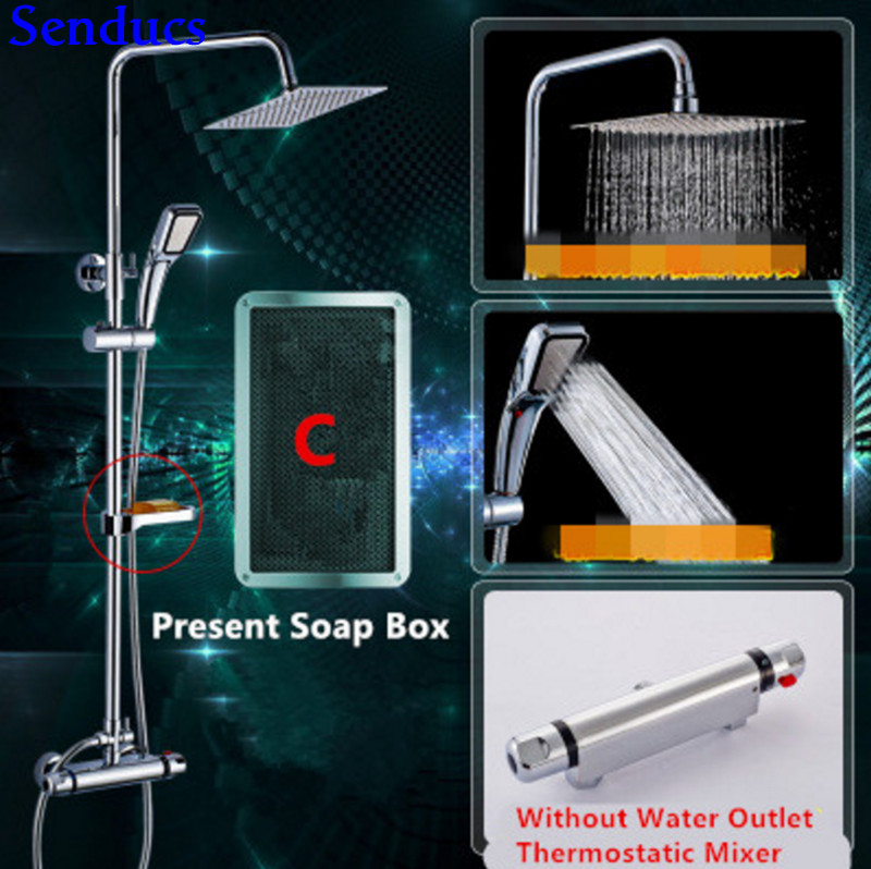 Senducs Brass Thermostatic Shower Set European Shower System with Quality Polished Chrome Bathroom Thermostatic Shower Set