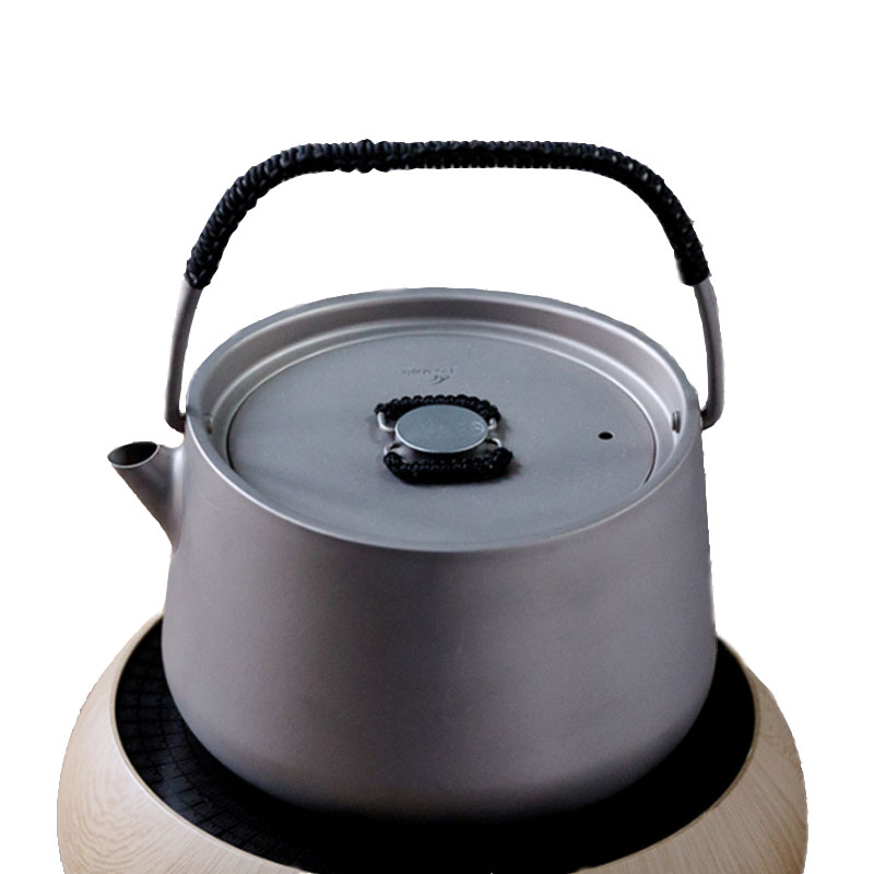 Bouilloire à thé en titane pur camping en plein air portable ultra léger titane 1000 ml bouilloire en titane théière