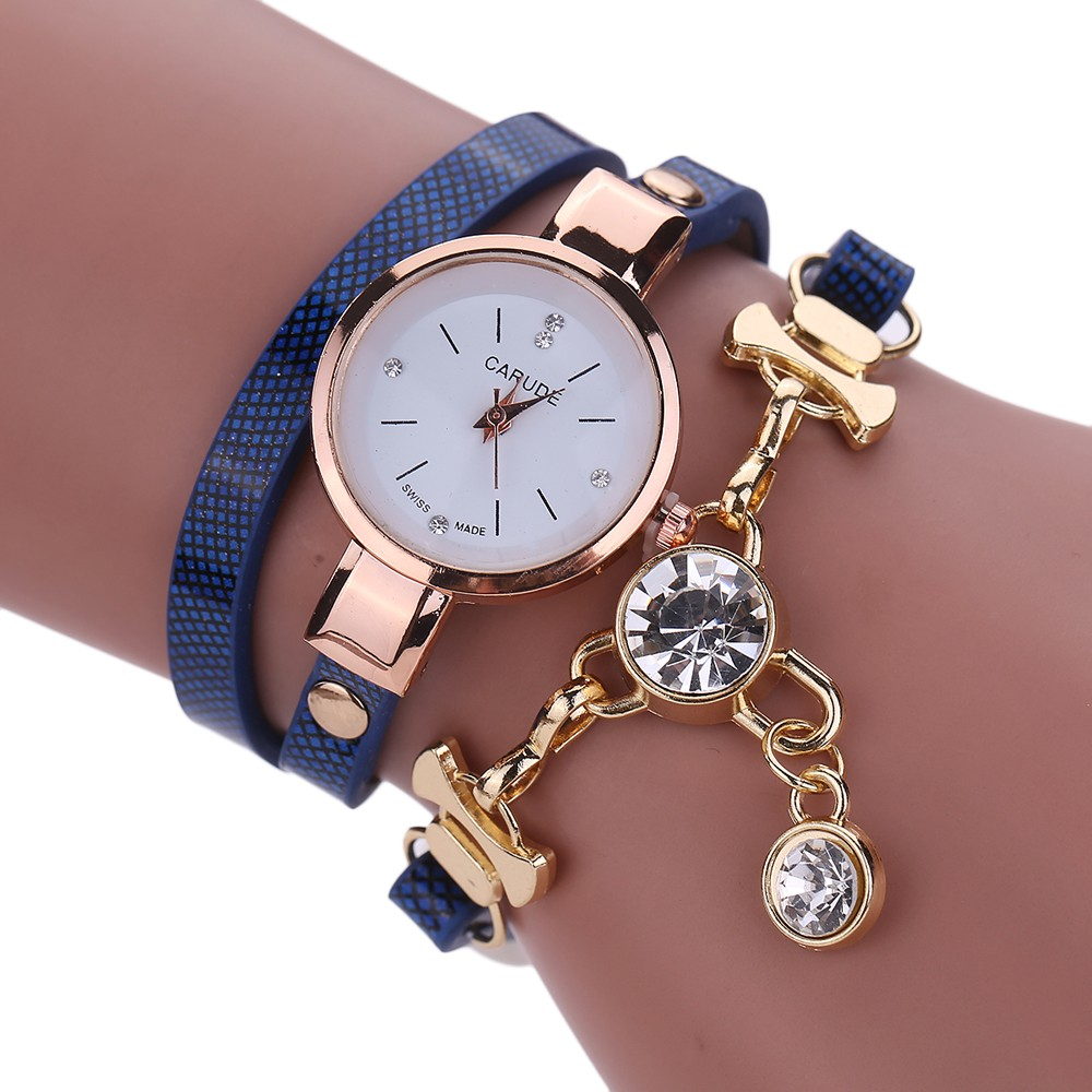 Rhinestone Pendant Fashion Ladies Watches Women Luxury  Leather Wrist For Women Bracelet Vintage Clock Watch Christmas Gif 999