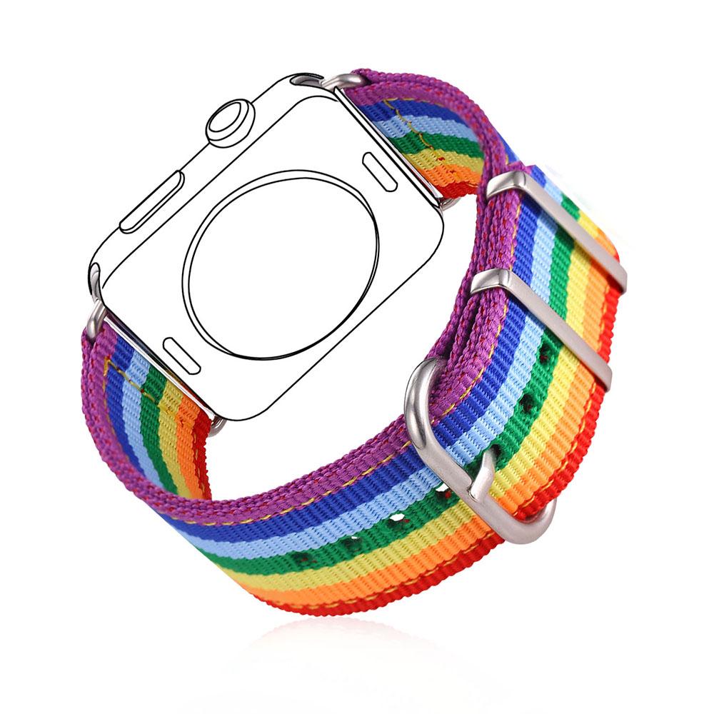 Prix pour Haute Qualité Tissu Montre Bracelet Bracelet Pour Applewatch Série 1/2 38 MM/42 MM Hommes/Femmes LGBT Arc-En-coloré Montre Bande APB2295