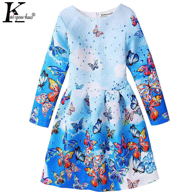 Girls Dress Spring Long Sleeve Baby Girl Clothes Vestidos Children Clothing Printed Butterfly Dresses For Girls Costume For Kids 2016 new girls clothes brand baby costume cotton kids dresses for girls striped girl clothing 2 10 year children dress vestidos