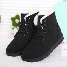Hot Women Boots Snow Warm Winter Boots Botas Mujer Lace Up Fur Ankle Boots Ladies Winter Shoes Black NM01