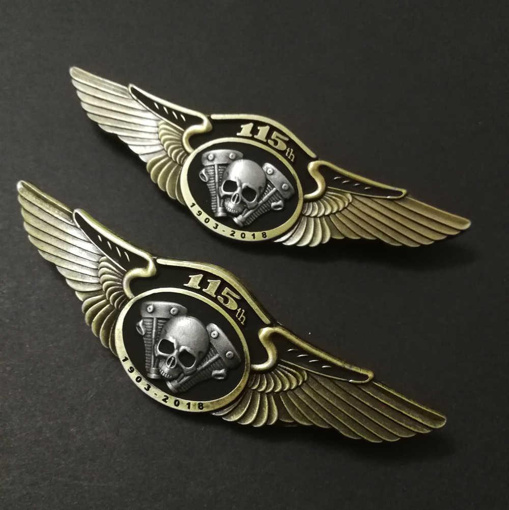 Nieuwste Motorcycle Skull Wings Pins Badges Broches Voor Biker Jacket Vest Schoenen Bag Belt Kleding Broches Pins Hoed Pinnen Gesp