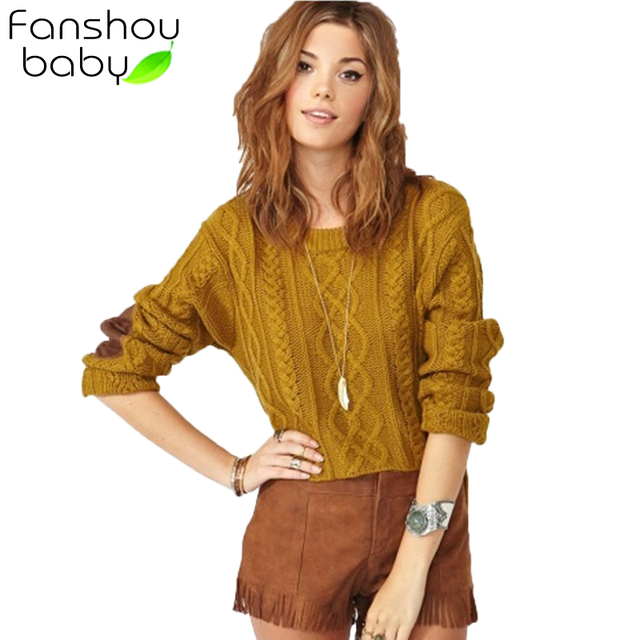 Free Shipping HOT SALE Women Autumn Long Sleeve O-neck Fashion Knitted Jacquard Pullover Ginger Yellow Cable Sweater 8928