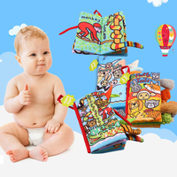 8 Pcs/set Cloth Book 0 36 Months Baby Toys Intelligence Development Soft Rattles Activity Cute Animals Books for infant kids