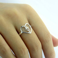Personalized Old English Initial Ring Heart Thin Band 925 Sterling Silver Women Fashion Jewelry bague en argent anillo