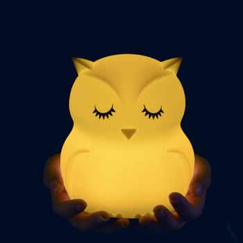 Belle chouette bande dessinée Silicone bébé Led veilleuse enfants jouet lumières chevet lampe de nuit cadeaux pour enfants 8 couleurs changeantes