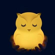 Schöne Eule Cartoon Silikon Baby Led Nacht Licht Kinder Spielzeug Lichter Nacht Nacht Lampe Geschenke Für Kinder 8 Farben Ändern