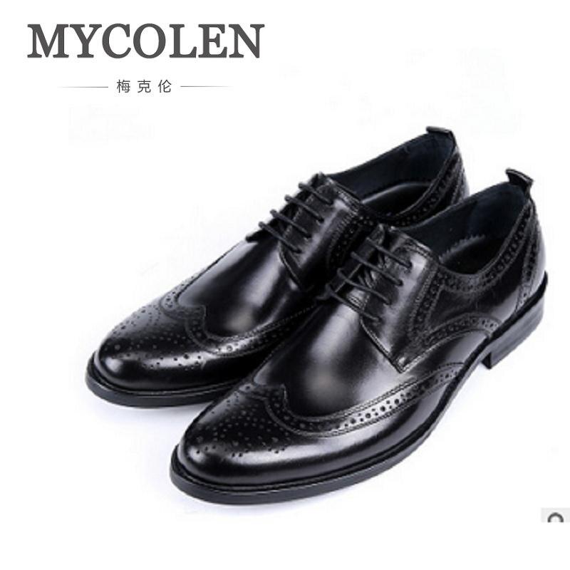 MYCOLEN Men Leather New Business Leather Shoes Men's Luxury Pattern Business Dress Gentlemen Working Shoes Chaussures Men italians gentlemen пиджак