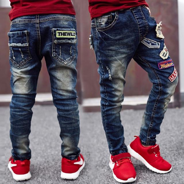 Presente de Ano novo, crianças jeans rasgados, calças de brim menino para crianças desgaste estilo elegante e de alta qualidade crianças calças de brim,