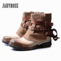 Jady Роза Британский Женские ботильоны из натуральной кожи ремни в стиле панк резиновые полусапожки с боковой молнией женские туфли на плоск
