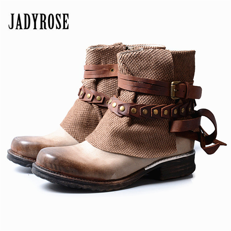 Jady Rose British Women Genuine Leather Ankle Boots Straps Punk Style Rubber Short Booties Side Zipper Female Flat Martin Boot jady rose ankle boots for women straps buckle genuine leather autumn boots platform short booties female flat rubber martin boot