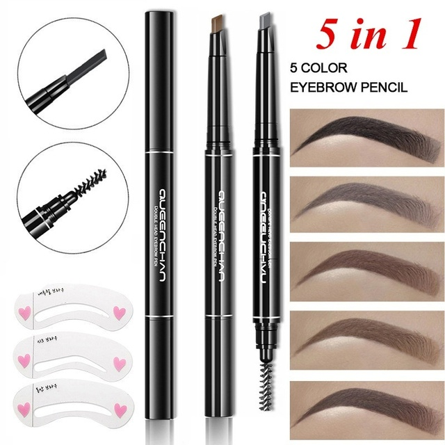8pcs Professional Automatic Eyebrow Pencil Eye Brow Pen with 4pcs Brush Eyebrow Stencils Cosmetic Makeup Tools Kit 3