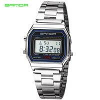 SANDA Luxus LED Digital Silber Uhren Männer Super Dünne Sport männer Edelstahl Militärische Wasserdichte Armbanduhren Uhren