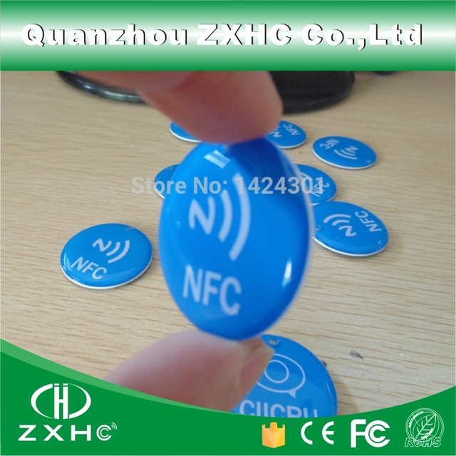 (3pcs/lot) Waterproof Blue Crystal Epoxy NFC Tag Ntag213 for All NFC Phones