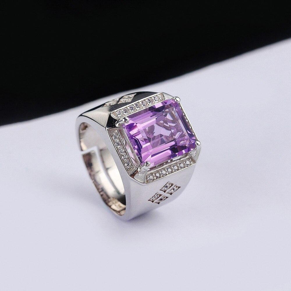 SGARIT usine gros pierres précieuses 925 bague en argent sterling bijoux naturel améthyste violet cristal réglable anneau pour homme - 5
