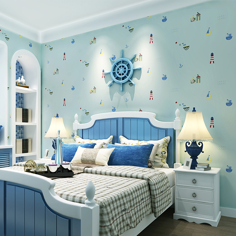 Mediterranean Kids' Room Non woven Wallpaper Boys And ...