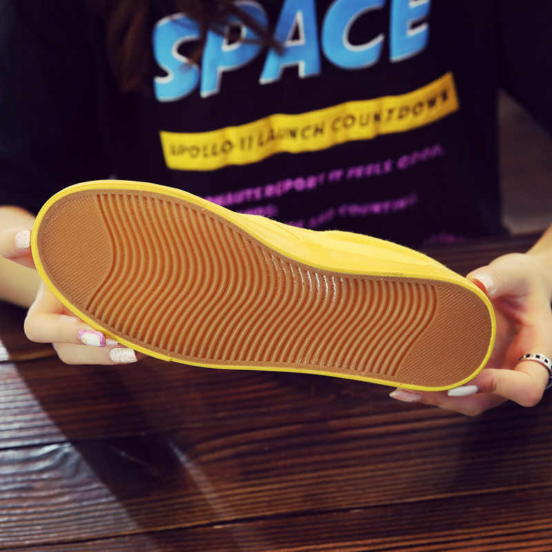 ผู้หญิง Vulcanize ฤดูใบไม้ผลิฤดูใบไม้ร่วงรองเท้าฤดูร้อน Breathable แฟชั่นรองเท้าสบายๆผ้าใบสีเหลืองรองเท้ารองเท้าผ้าใบ