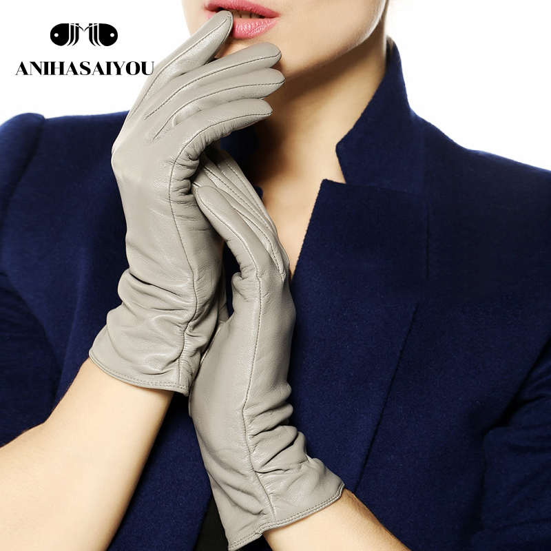 Beste verkäufer grau leder handschuhe frauen Aus Echtem Leder winter handschuhe kurze hochwertigem echtem leder handschuhe frauen 100% schaffell