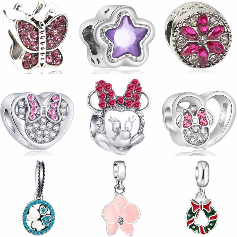 Simple Style Alloy Elephant Car Lock Squirrel Mickey Minnie DIY Beads Fit Pandora Charms Bracelets for Women Berloques Trinket
