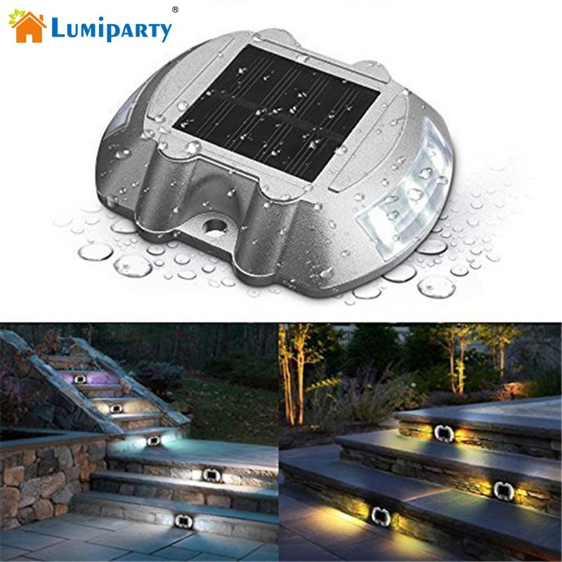 LumiParty 6Pcs Solar Deck Light LED Solar Dock Path Road Lights Marker lighting Waterproof Security Lamps Stairs Ligthing sea wave stairs sticker 6pcs